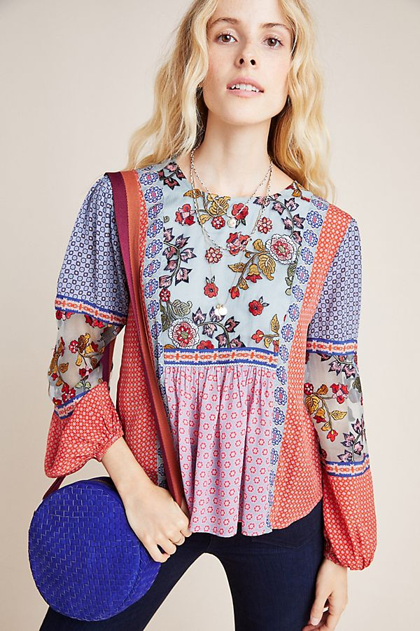 Slide View: 1: Salina Embroidered Peasant Blouse