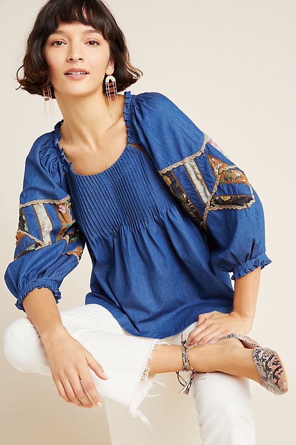 Slide View: 1: Ulla Patchwork Denim Blouse