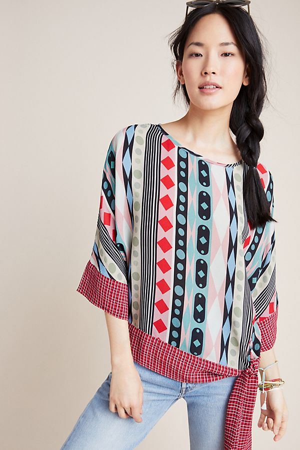 Slide View: 1: Geometric Dolman-Sleeved Blouse