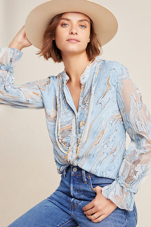 Slide View: 1: Portia Marbled Peasant Blouse