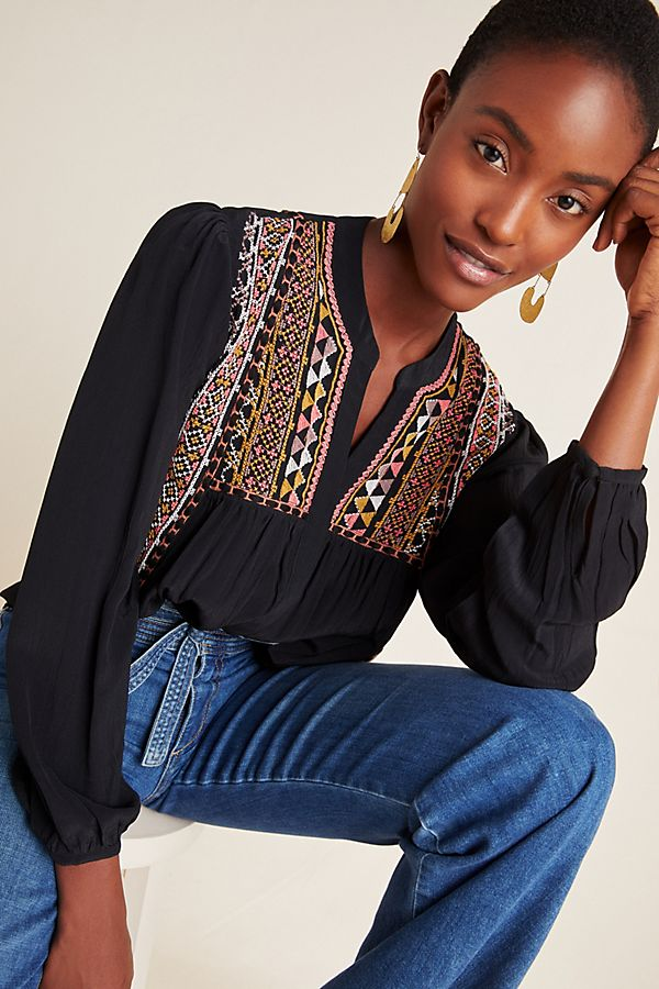 Slide View: 1: Lisi Embroidered Blouse