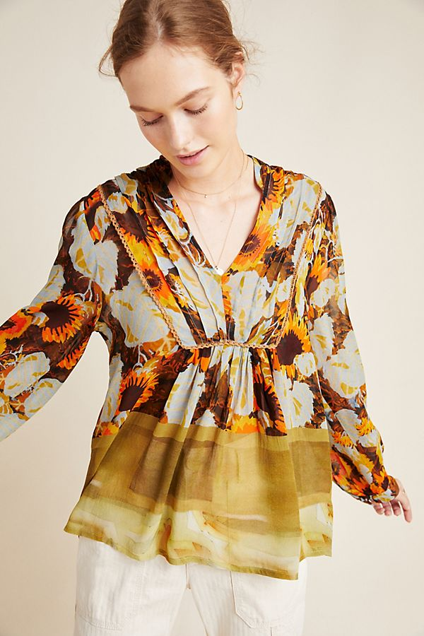 Slide View: 1: Cordelia Pleated Peasant Blouse