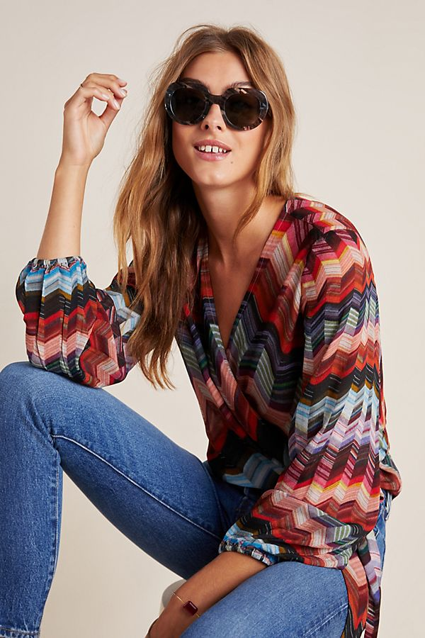 Slide View: 1: Laurie Chevron Wrap Blouse