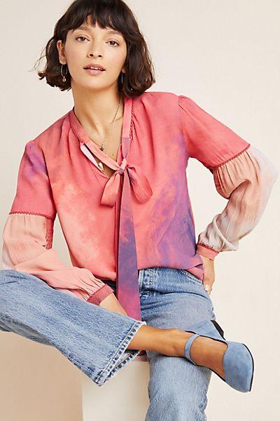 Mina Tie-Dyed Peasant Blouse