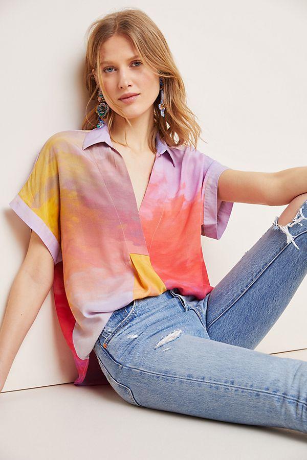 Slide View: 1: Carmel Tie-Dyed Blouse