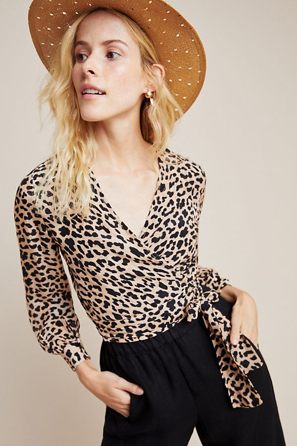 Slide View: 1: Leopard Cropped Wrap Blouse
