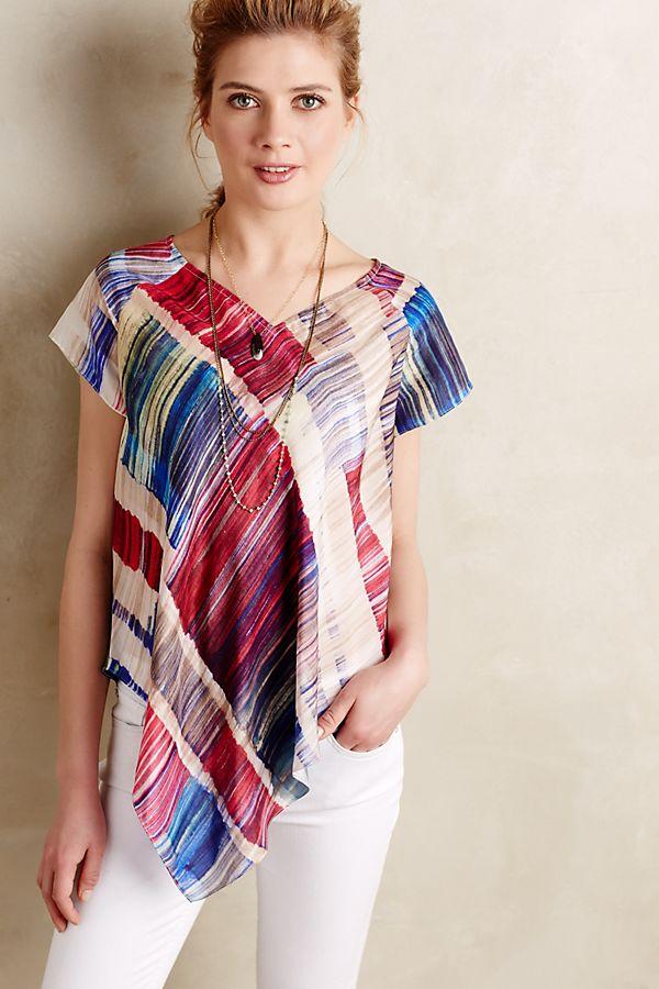 06f2e7f56652 Painted Plaid Silk V-Neck | Anthropologie