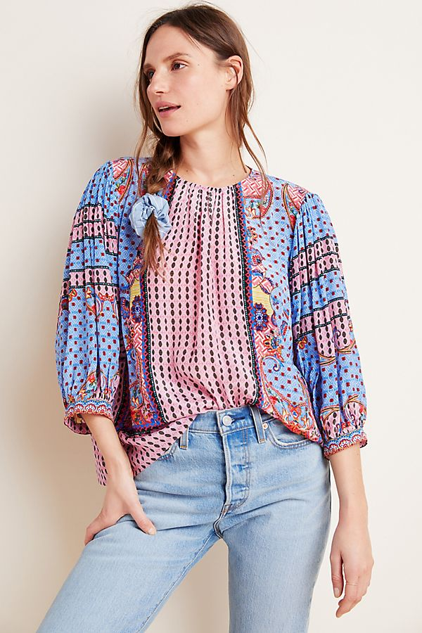 Slide View: 1: Emilia Beaded Peasant Blouse