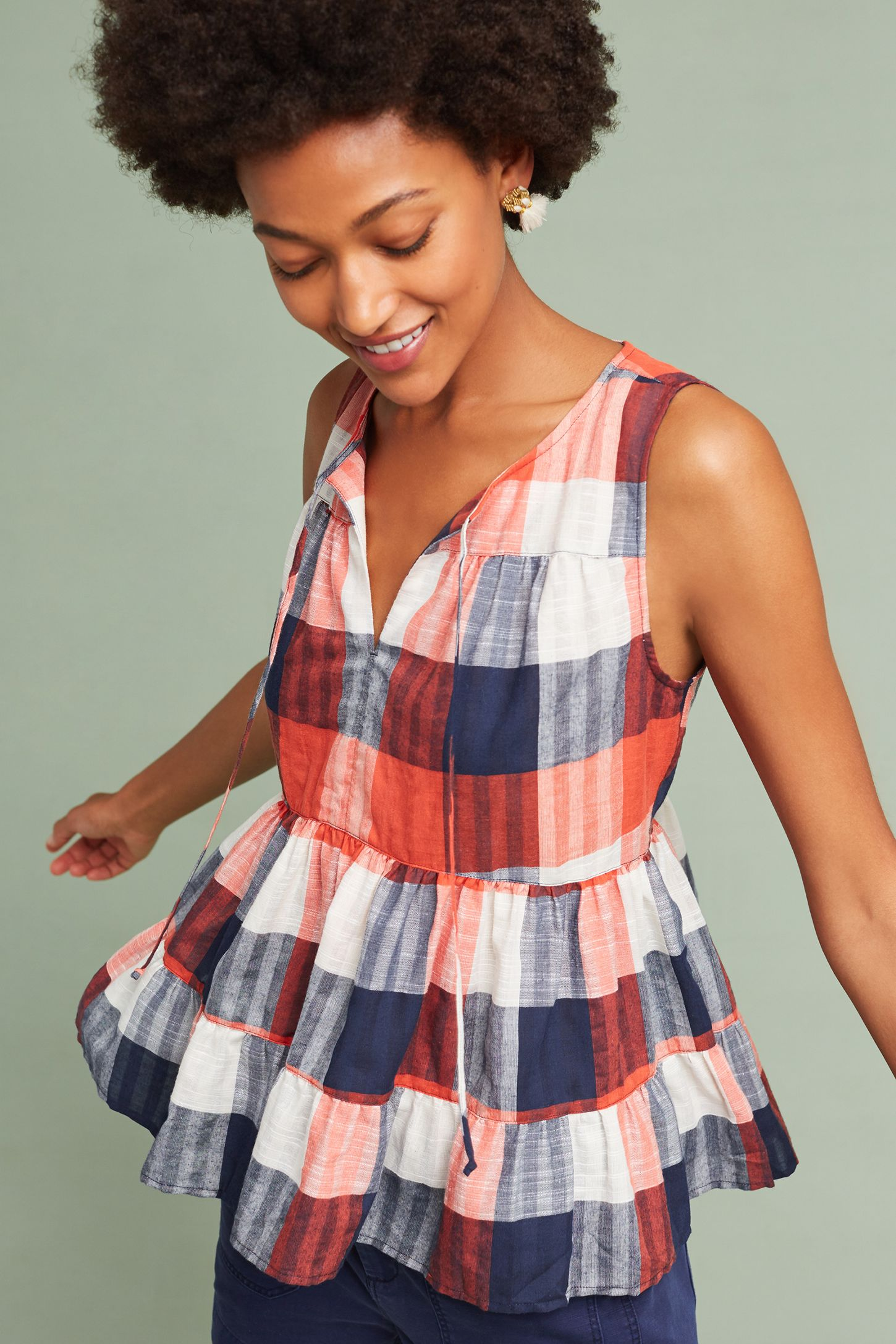 0d7fcdc692487 Skirted Gingham Top | Anthropologie