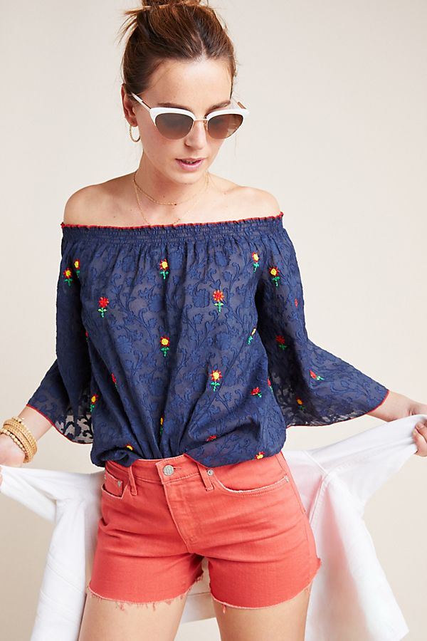 Slide View: 1: Jayna Embroidered Off-The-Shoulder Blouse