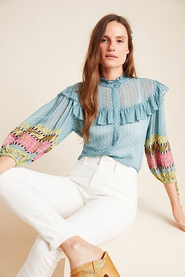 Slide View: 1: Victoire Sheer Ruffled Blouse