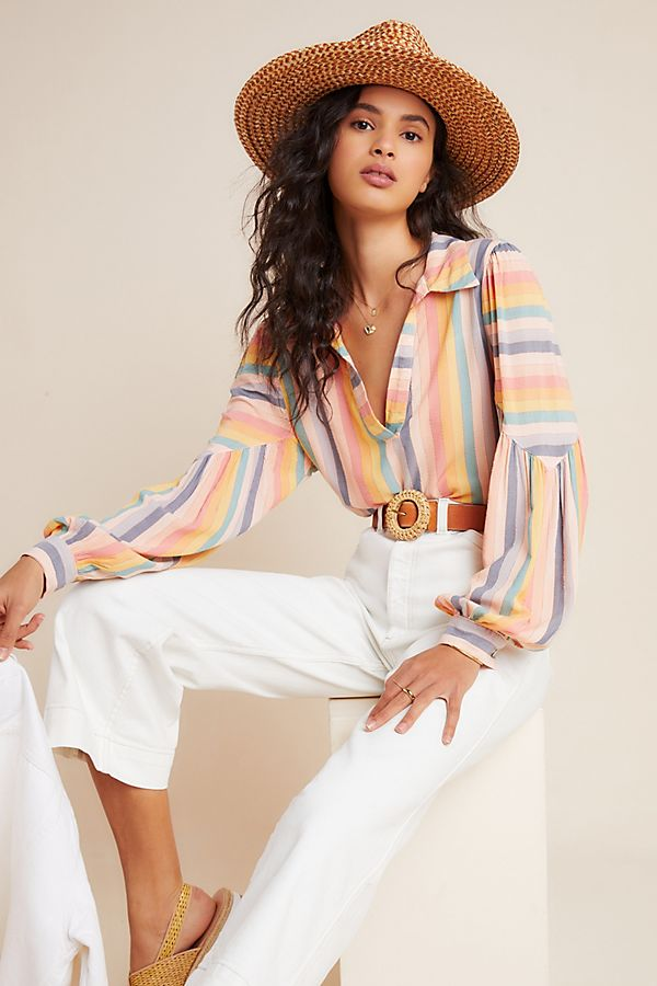 Slide View: 1: Rainbow Peasant Blouse