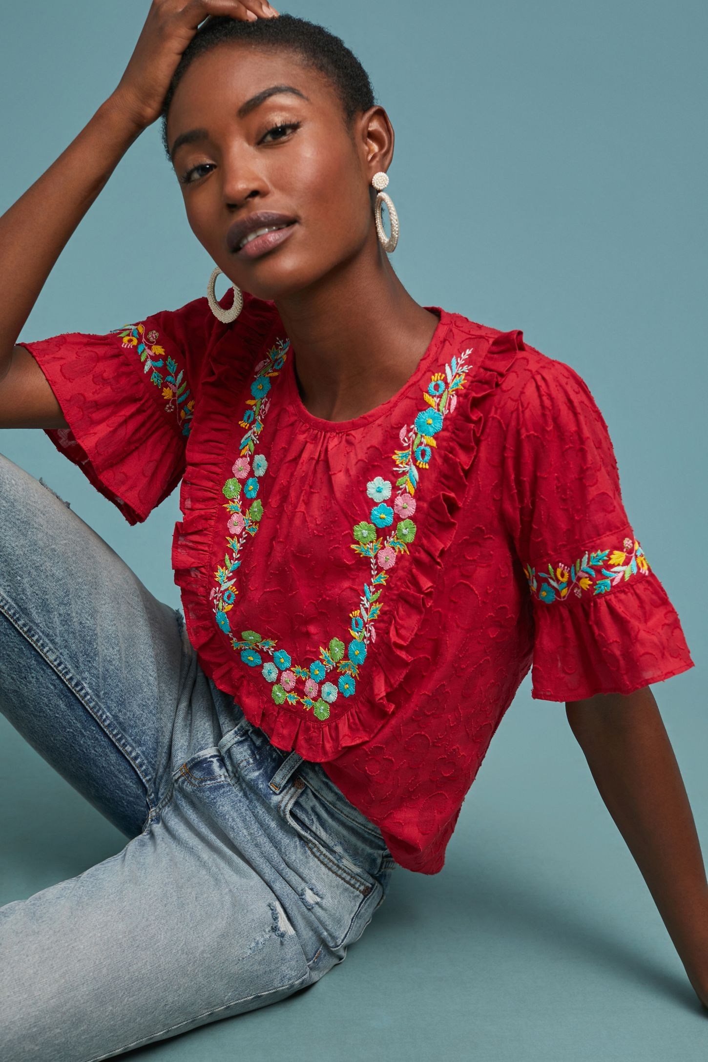 b9210a82ca946 Scarlett Embroidered Silk Blouse