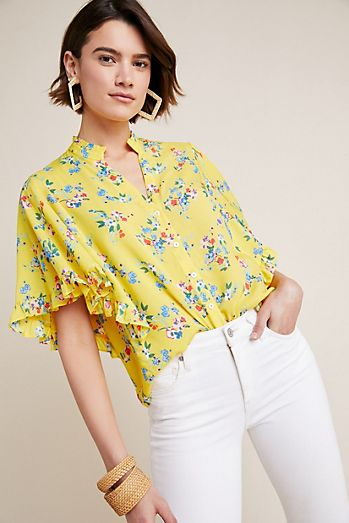 7c787210ed Aveiro Flutter-Sleeved Buttondown