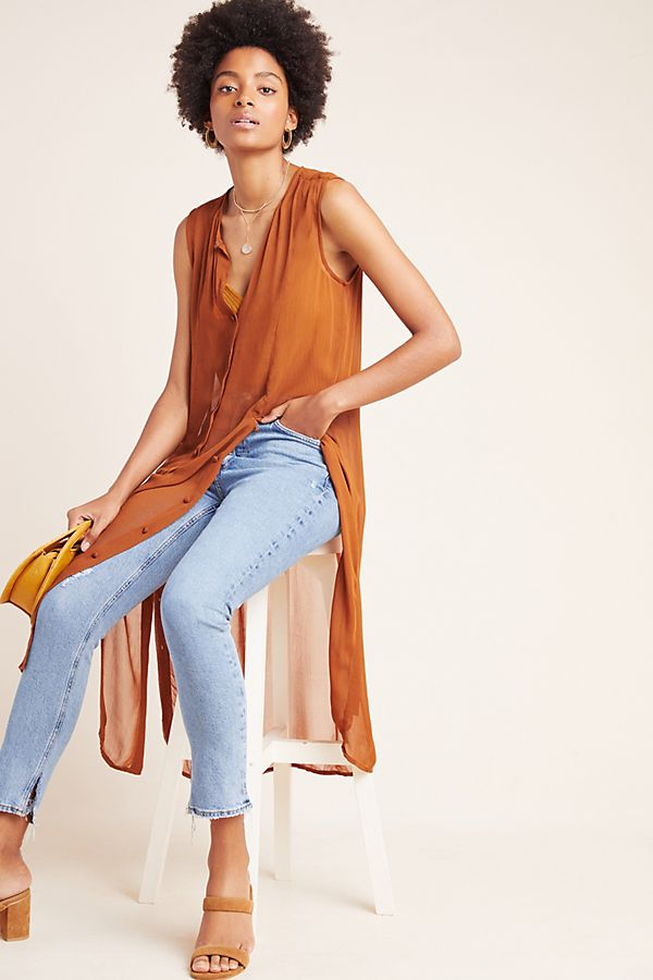 Slide View: 1: Meriwether Sheer Button-Front Tunic