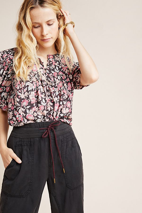 Slide View: 1: Charade Puff-Sleeved Poplin Blouse