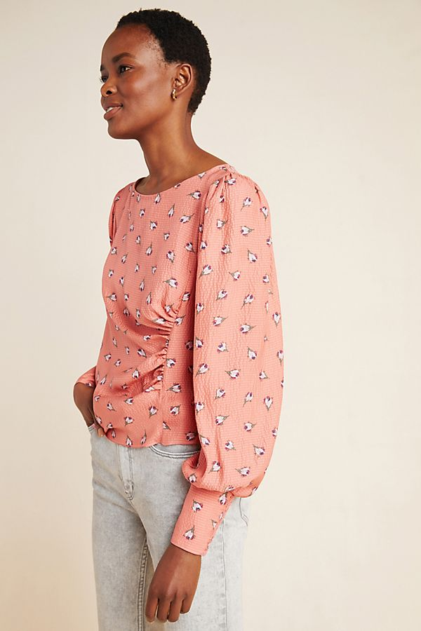 Slide View: 1: Rebecca Taylor Puff-Sleeved Silk Blouse
