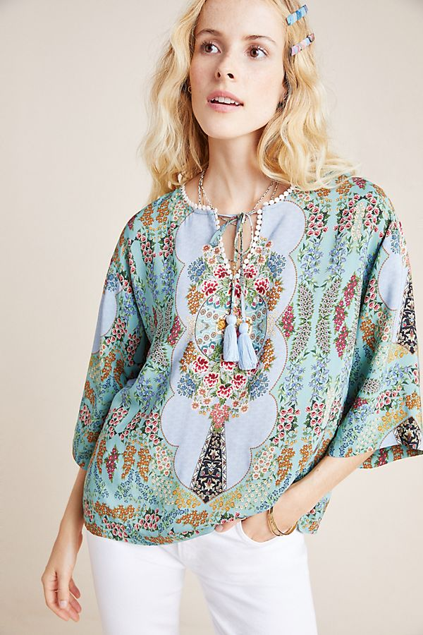 Slide View: 1: Farm Rio Primrose Peasant Blouse