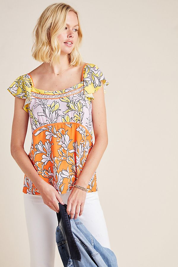 Slide View: 1: Farm Rio Tia Flutter-Sleeved Blouse