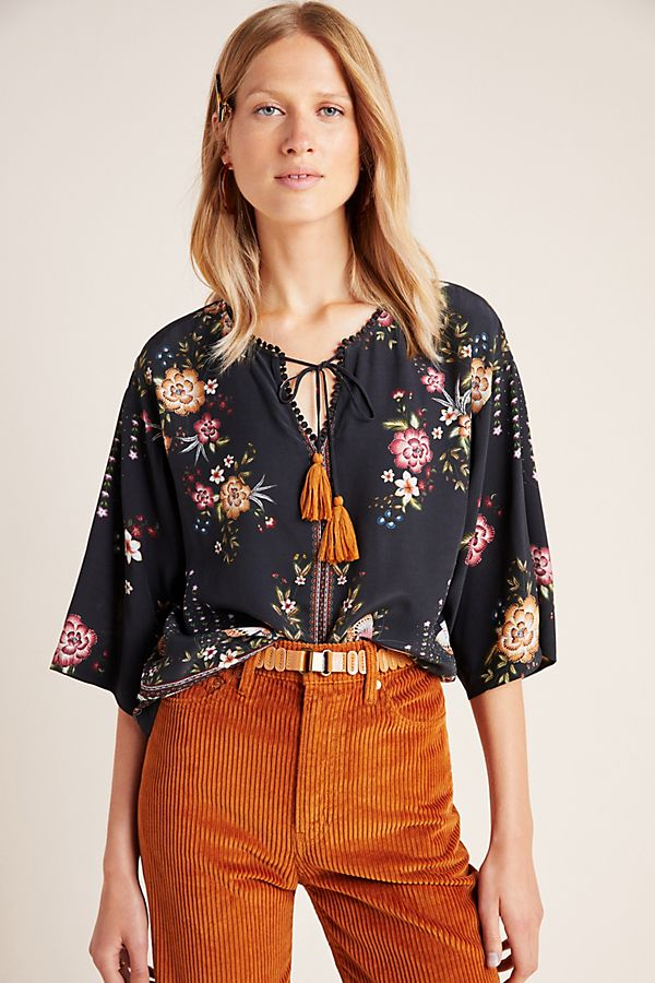 Slide View: 1: Farm Rio for Anthropologie Titania Peasant Blouse