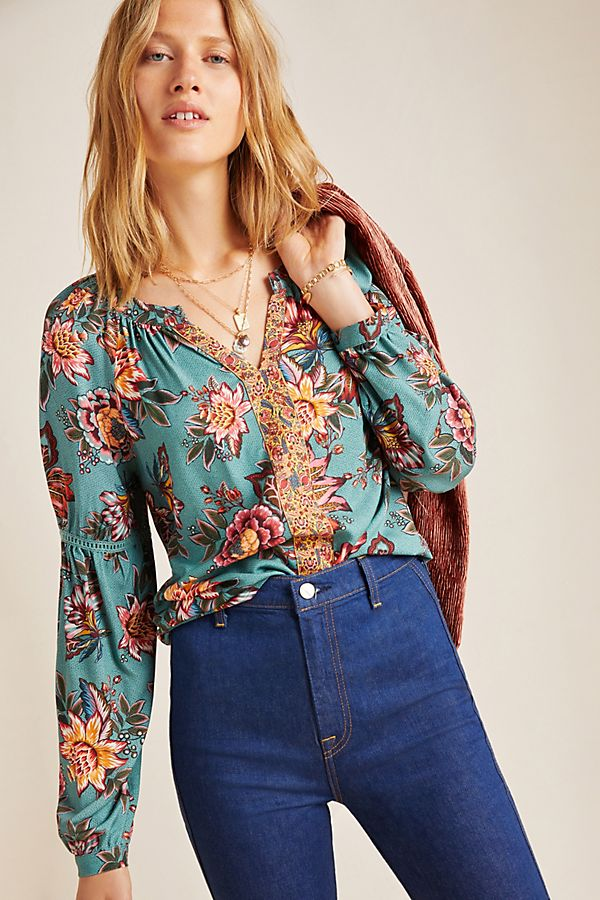 Slide View: 1: Farm Rio Paola Floral Peasant Blouse