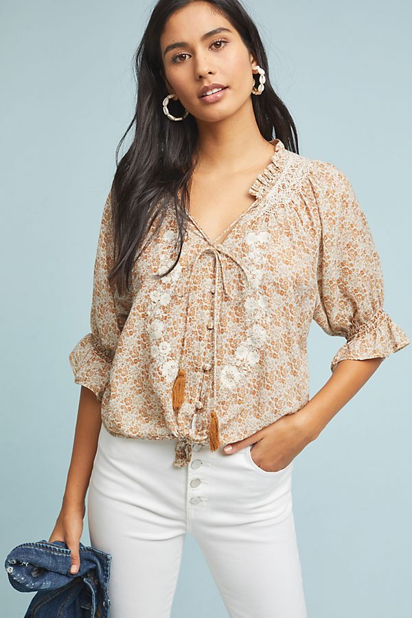 Slide View: 1: Emily Embroidered Blouse