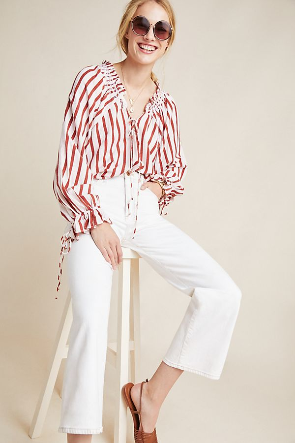 Slide View: 1: Penelope Striped Peasant Blouse