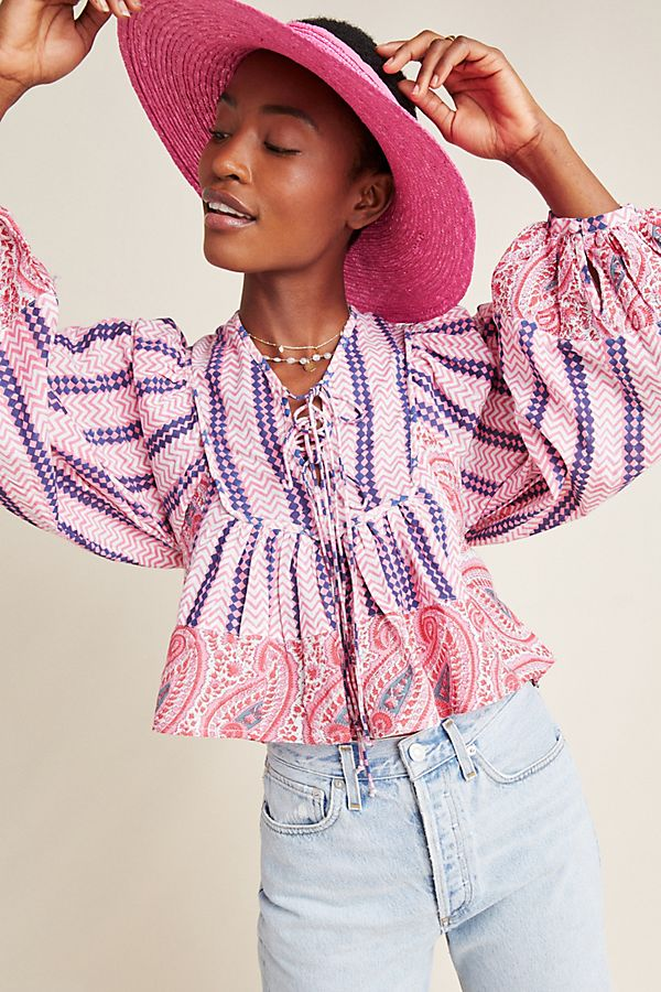 Slide View: 1: Kiara Block-Printed Peasant Blouse