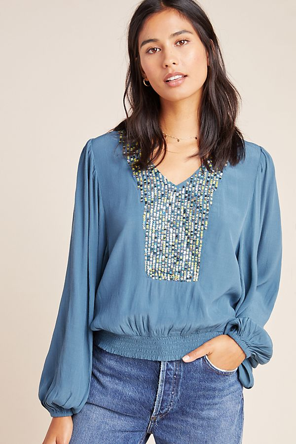 Slide View: 1: Kristie Sequined Peasant Blouse