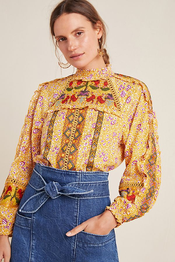 Slide View: 1: Goldie Embroidered Blouse
