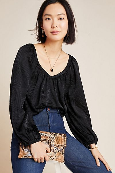 Madeira Burnout Satin Blouse