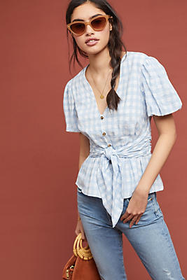 Slide View: 1: Gingham Puff-Sleeved Blouse