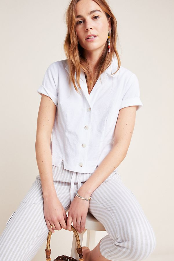 Slide View: 1: Caila Cropped Buttondown