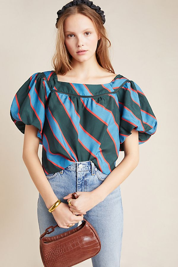 Slide View: 1: Ginevra Balloon-Sleeved Blouse