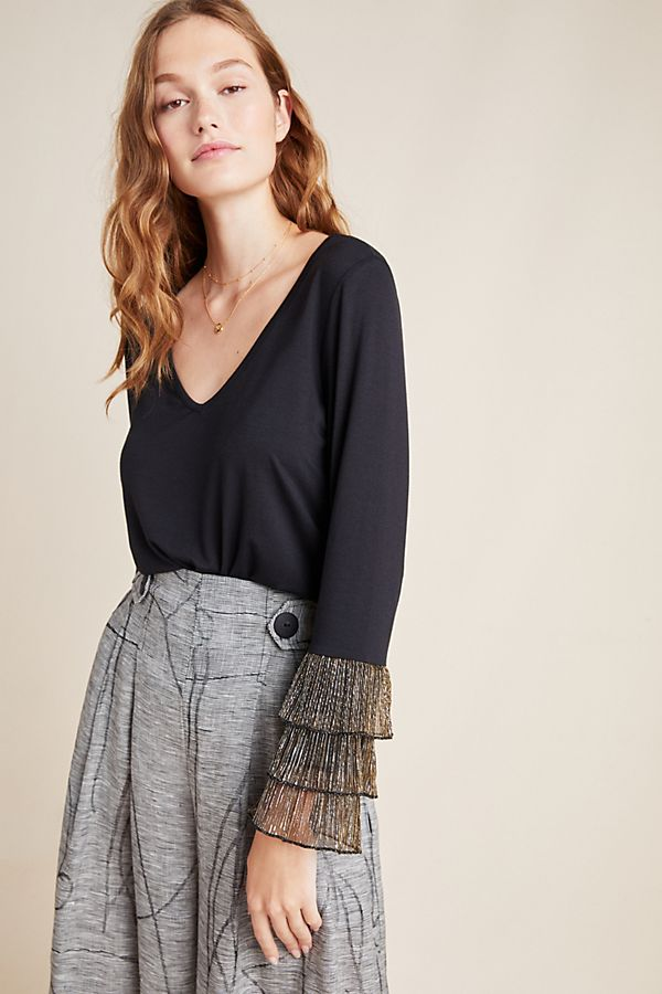 Slide View: 1: Belline Shimmer-Cuffed Top