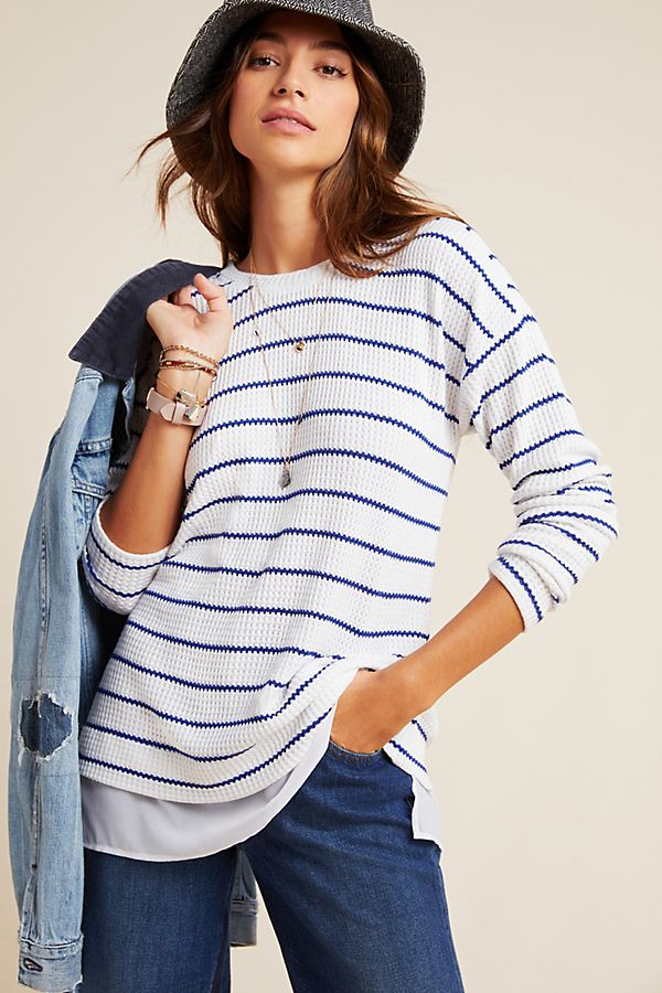 Slide View: 1: Lizzy Striped Thermal Top