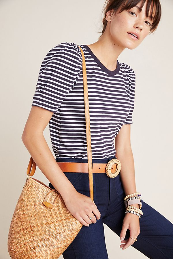 Slide View: 1: Lima Striped Puff-Sleeved Tee