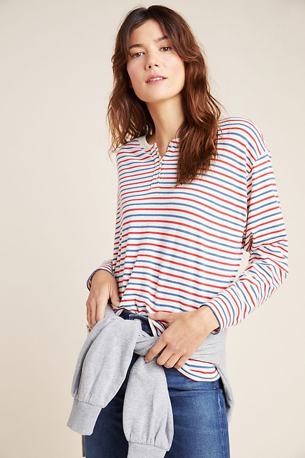 Slide View: 1: Holly Striped Henley Top