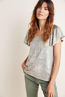 Tirana Flutter Sleeved Metallic Top by Anthropologie