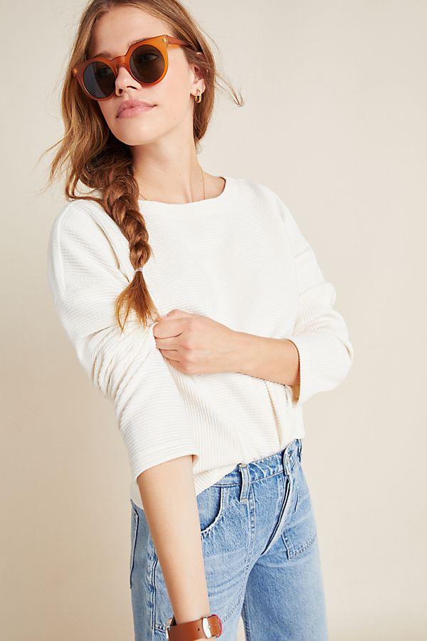 Slide View: 1: Chrissy Dolman-Sleeved Sweater