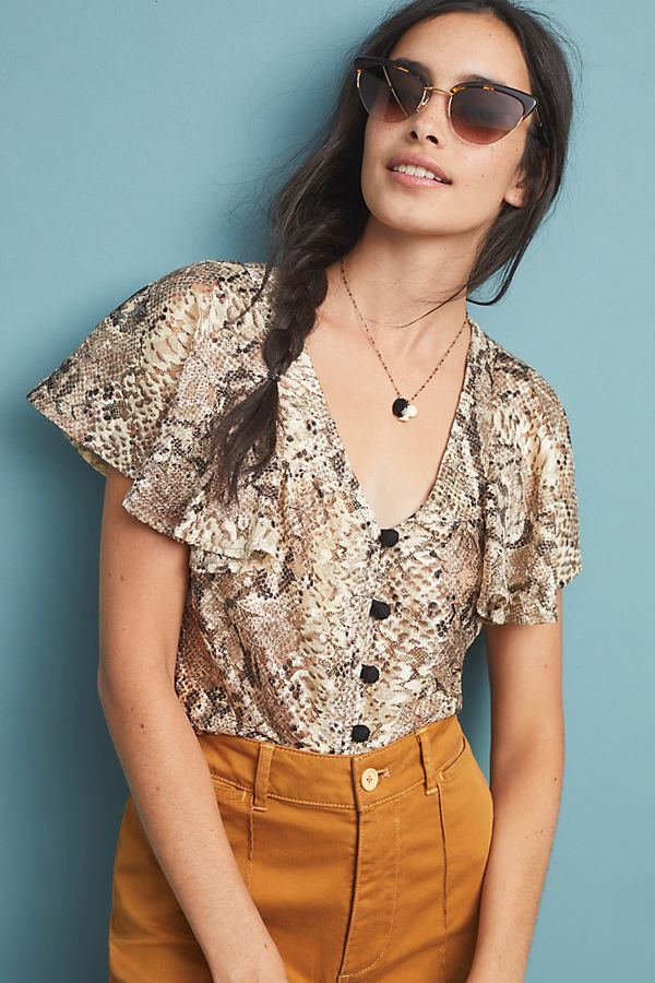 40a32dea666 Willow Snake-Printed Blouse | Anthropologie