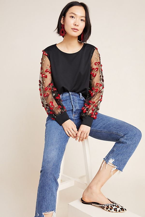 Slide View: 1: Emilie Embroidered Top