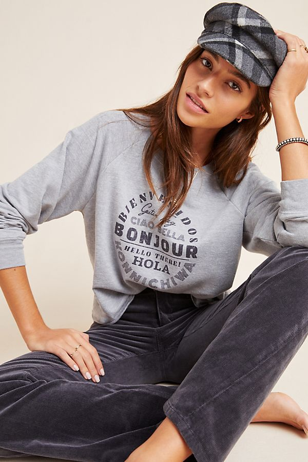 Slide View: 1: Hello Graphic Sweatshirt