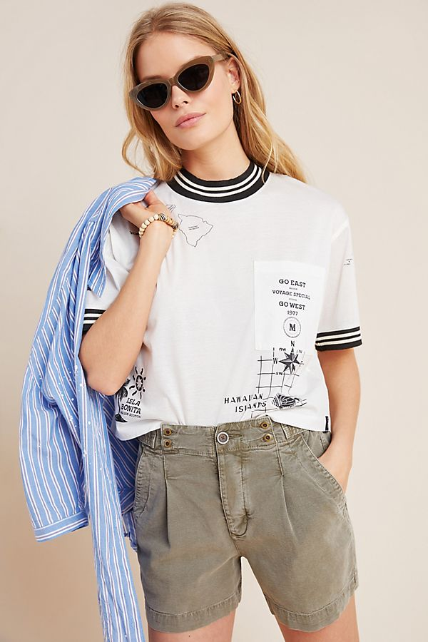 Slide View: 1: Scotch & Soda Hawaii Cropped Graphic Tee