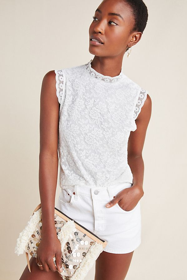 Slide View: 1: Floral Lace Sleeveless Top