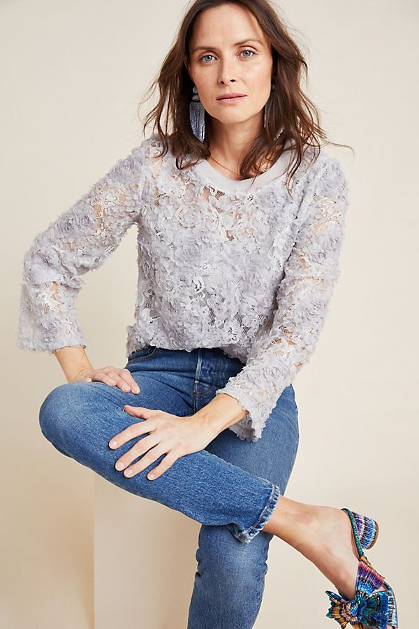 Slide View: 1: Freda Appliqued Lace Pullover