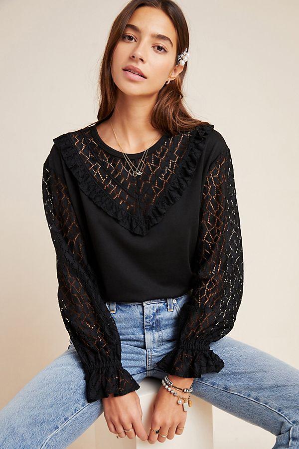 Slide View: 1: Margie Ruffled Lace Sweatshirt