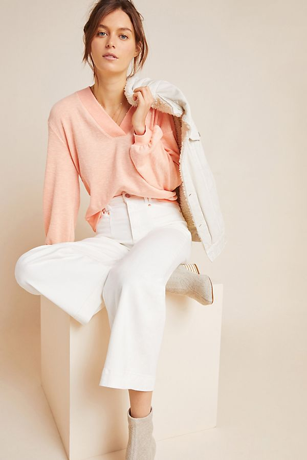 Slide View: 1: Coral Ribbed Pullover