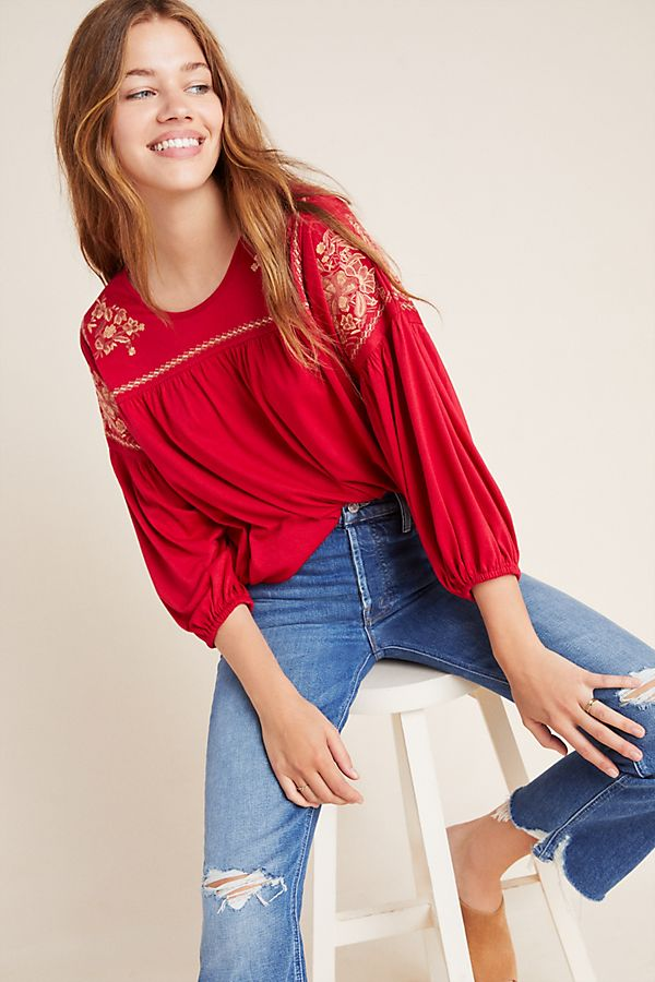 Slide View: 1: Heidi Embroidered Peasant Top