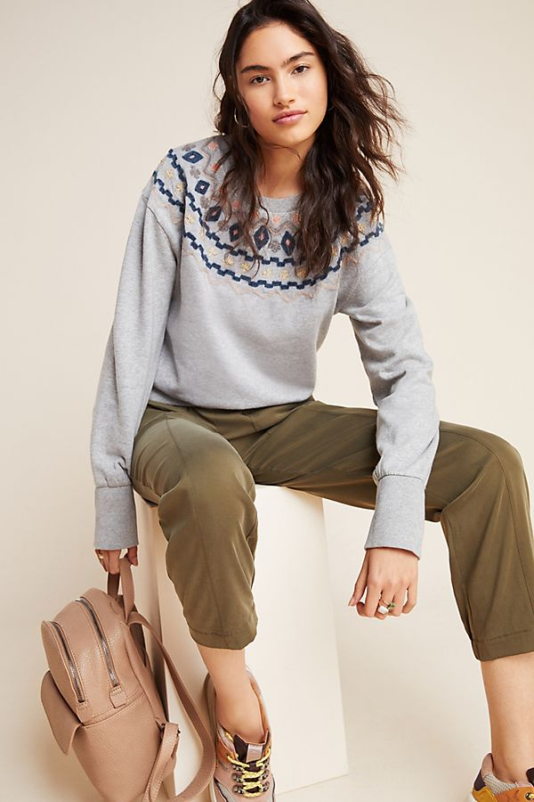 Slide View: 1: Roslyn Embroidered Sweatshirt